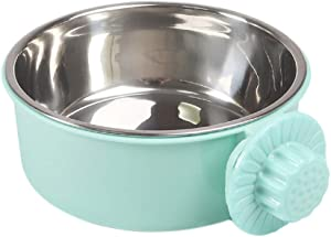 POPETPOP Dog Crate Water Bowl-Removable Stainless Steel Coop Cup Hanging Pet Cage Kennel Bowl Water Food Feeder for Dogs Cats Rabbits-Green (Middle Size)