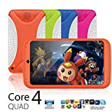 Tablet For Children, Android 4.4 KitKat Dual Camera WiFi Bluetooth 7 inch Quad Core HD 8G Tablet for Kids Gift (Orange)