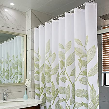 Amazon MangGou Leaves Fabric Shower CurtainWaterproof Polyester Bathroom CurtainDecorative Curtain Liner With 12 HooksMildew Resistant