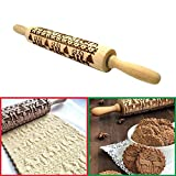 Christmas Embossed Rolling Pin - 35cm - Xmas Deers Trees Patterns Natural Wood Solid Bearing Embossing Patterned Rolling Pins for DIY Fondant Cake Dough Biscuit Cookies