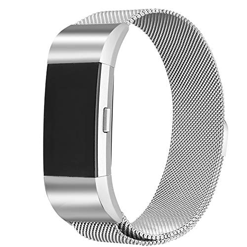 bayite Milanese Loop Bands Compatible Fitbit Charge 2, Stainless Steel Magnet Lock Metal, Silver Large