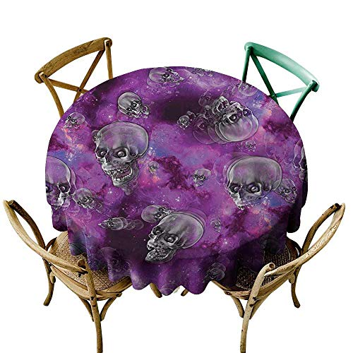 Decorative Textured Fabric Tablecloth Skull Horror Movie Thirller Themed Flying Skull Heads Halloween in Outer Space Image Waterproof/Oil-Proof/Spill-Proof Tabletop Protector D59
