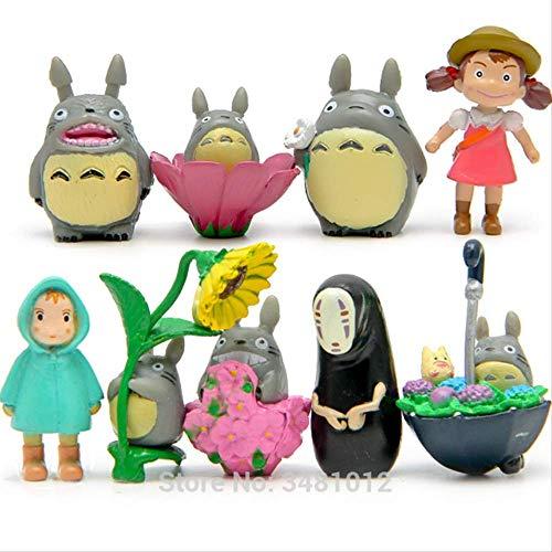 Yangzou 9 Unids Studio Ghibli Totoro Miniaturas PVC Figuras De Accion Sin Cara Hombre Hayao Miyazaki Mini Terrario Figuritas Micro Paisaje Ninos Juguetes