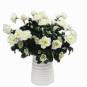 Mynse 2 Bunches Simulation Flowers Bouquet for Home Garden Outdoor Decoration Artificial Flowers Azalea Bouquet White 117