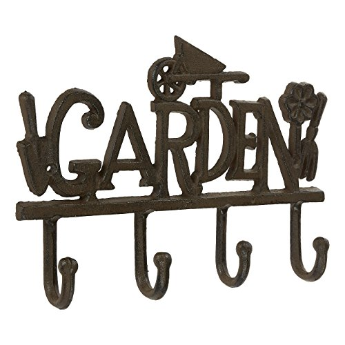 Wrought Iron Hook Rail with 4 Pegs - Rustic Decorative Indoor and Outdoor Hooks for Household Items, Clothing, Gardening Tools, DIY Equipment - 7.67 x 11 inches