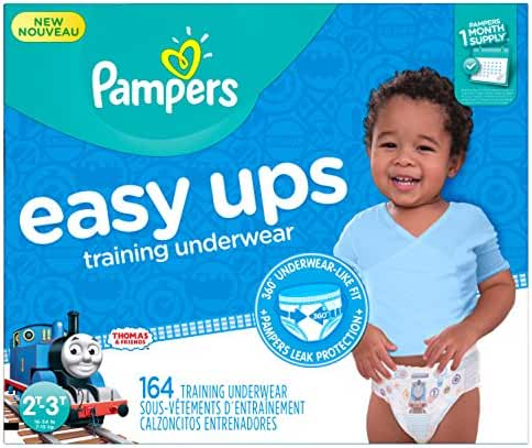 Pampers Easy Ups Disposable Training Underwear Boys 2T-3T (Size 4), 164 Count (One Month Supply)