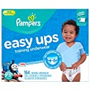Pampers Easy Ups Training Pants Pull On Disposable Diapers for Boys Size 4 (2T-3T), 164 Count, ONE MONTH SUPPLY