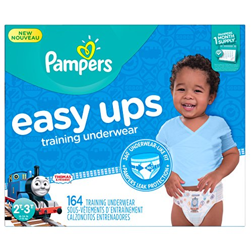 Pampers Easy Ups Training Pants Pull On Disposable Diapers for Boys Size 4 (2T-3T), 164 Count, ONE MONTH SUPPLY by Pampers