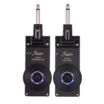 Muslady Rowin WS-20 2.4G Recargador Inalámbrico de Guitarra Eléctrica Recargable Receptor Set 30 Metros Rango de Transmisión con Cable de Carga USB: ...
