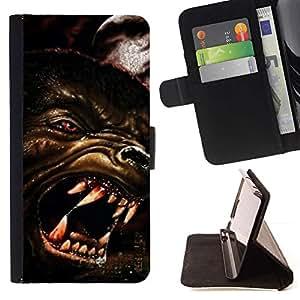 Momo Phone Case / Flip Funda de Cuero Case Cover - Lobo enojado Perro Red Eyes Arte Cara Dientes Hocico - Sony Xperia M2