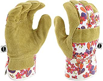 West Chester Miracle-Gro MG23010 Split Cowhide Leather Landscaping Work Gloves: White/Floral Print, Women's Small/Medium, 1 Pair