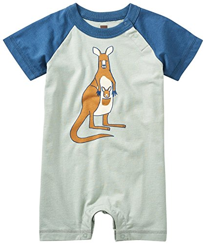 Tea Collection Baby Boys' Joey Graphic Romper, Sea Green, 9-12M (Collection Tea Clothes)