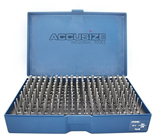 (Accusize Industrial Tools 0.061''-0.250'', 190 Pc Steel Plug Pin Gage Set, Plus, Class Zz, P1(+))
