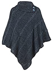 Ogluxe Women Poncho 3 Button Knit Cardigan Sweater Poncho 3 Button Cable Net Jumper Cardigan Knitted Xl Xxl Uk 20 22 Eu 48 50 Us 16 18 Charcoal