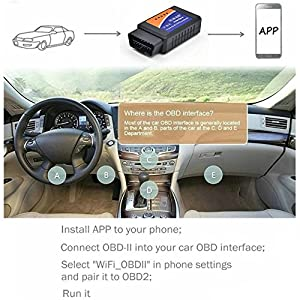 [Upgraded Chip] WIFI OBD2 Scanner Car Diagnostic Tool - Vehicle Code Reader Wireless OBD II Check Engine with IOS, Android & Windows Device, More Than 3000 Code Database