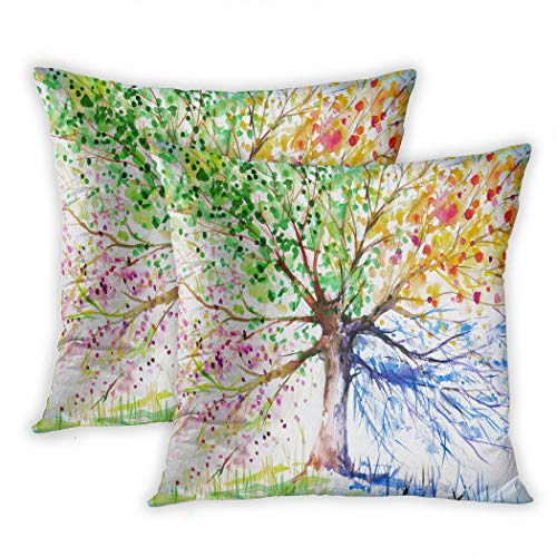 Houlor Set of 2 Throw Pillow Covers Four Seasons Spring Tree of Life Couch 16 x 16 Inches Cushion Pillowcase for Living Room Bedroom Dorm Hidden Zipper