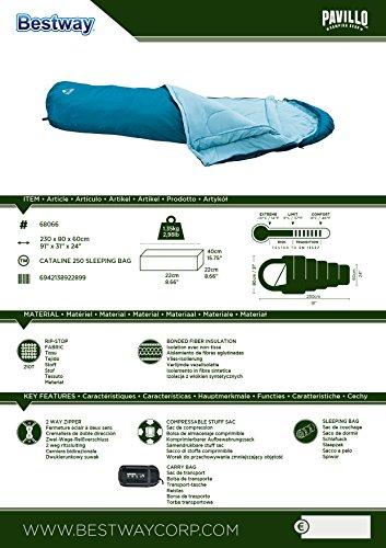 Bestway Cataline 250 - Saco de dormir, tipo momia, 230 x 80 cm: Amazon.es: Deportes y aire libre