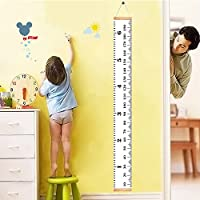 Homdipoo Kids Room Wall Decor Baby Height Growth Chart Ruler, Roll-up Canvas Height Chart Removable Wall Hanging Measurement Chart Wall Decor with Wood Frame for Kids Nursery Room