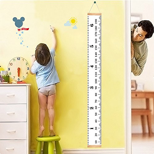 - Homdipoo Kids Room Wall Decor Baby Height Growth Chart Ruler, Roll-up Canvas Height Chart Removable Wall Hanging Measurement Chart Wall Decor with Wood Frame for Kids Nursery Room 79