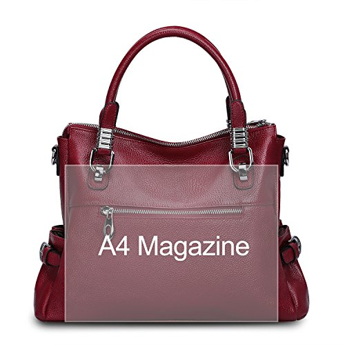 Top Handbags Bag Vintage Lady Women Red Purs Rose S Tote Handle Wine Shoulder Zone Red Genuine Leather Crossbody BPW87q