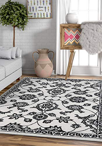 (Well Woven Imani Black White Ultra Soft Microfiber Oriental Sarouk 5x7 (5'3