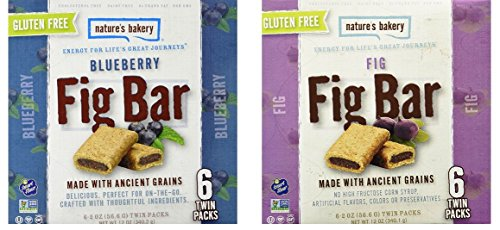 Nature's Bakery Gluten-Free Fig Bar Cookies Made with Ancient Grains 2 Flavor Variety Bundle, 1 each: Blueberry, and Original (12 ()