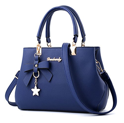 Dreubea Womens Handbag Tote Shoulder Purse Leather Crossbody Bag Royal Blue (Tote Leather Retro)