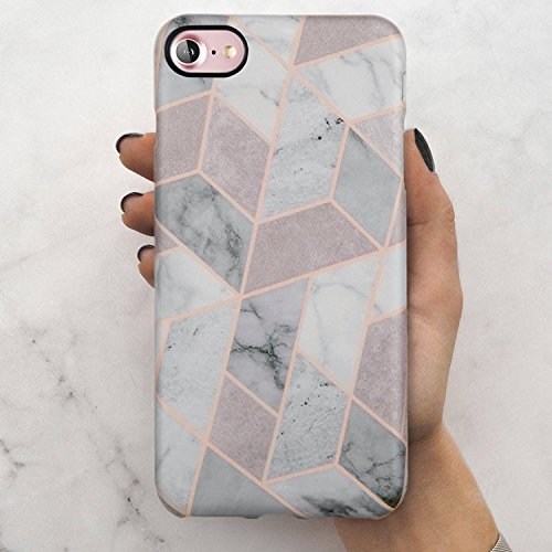 iPhone 7 Case, iPhone 8 Case, LUMARKE Cute Grey Pink Marble Slim-Fit TPU Clear Bumper Flexible Rubber Silicone Rugged Thin Cover Phone Case for iPhone 7/iPhone 8
