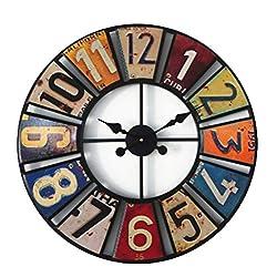 HLBJ Wall Clock Digital Round Retro Wall Clock Creative License Plate Wall Clock Wrought Iron Decoration