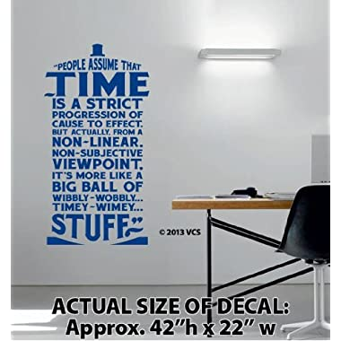 XTRA-LARGE -  Time Is Wibbly Wobbly, Timey Wimey Stuff  Wall Décor Sticker Vinyl Decal - Doctor Who Quote - Tardis
