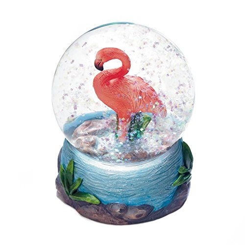 Accent Plus Snow Globes Collectibles, Pink Flamingo Mini Decorative Snow Globes, Galss by Accent Plus