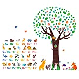 Decowall DM-1614P1312 Animal Alphabet ABC Large Tree Kids Wall Stickers Wall Decals Peel and Stick Removable Wall Stickers for Kids Nursery Bedroom Living Room