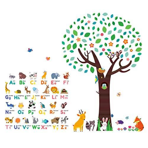 (Decowall DM-1614P1312 Animal Alphabet ABC Large Tree Kids Wall Stickers Wall Decals Peel and Stick Removable Wall Stickers for Kids Nursery Bedroom Living Room)