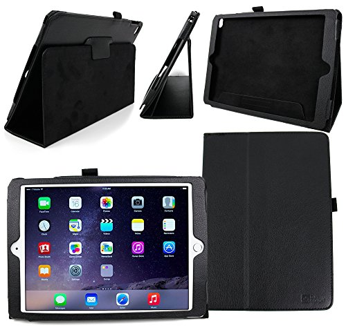 - DURAGADGET Apple iPad Air 2 Tablet Case - Deluxe Folding Folio Cover with Reverse Kick-Stand in Matte Black Faux Leather for The New Apple iPad Air 2