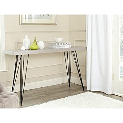 Safavieh Home Collection Wolcott Grey and Black Console Table - This console table will add a classic look to any room The grey finish and black iron legs of this console table will add the perfect accent to your home Crafted of wood and iron - living-room-furniture, living-room, console-tables - 51cb8aQwuIL. SS400  -