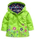 Uleade Girl Baby Kid Waterproof Hooded Coat Outwear Jacket Raincoat Hoodies(Green)