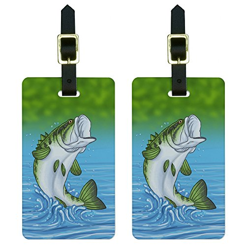 (Bass Fish - Fishing Jumping Out of Water Luggage Tags Suitcase ID Set of)
