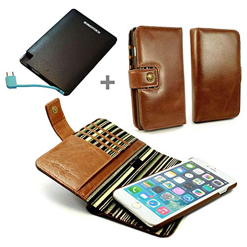 (Alston Craig Leather Magnetic Juice PowerBank Wallet Case Cover (with RFID Blocking) for iPhone 7 - Brown)