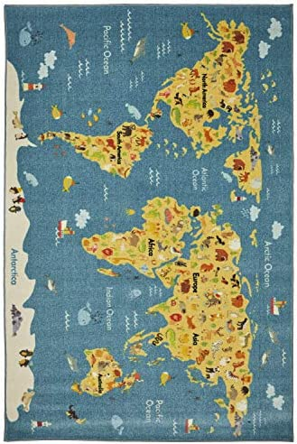 Mohawk Home Prismatic Animal Map By Country Printed Contemporary Kids Area Rug, 8 x10 , World