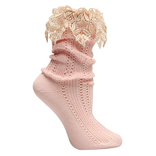Women's Lavish Lace Embellished Pink & Ivory Socks Embellished Girls Socks