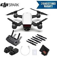 DJI Spark Portable Mini Drone Quadcopter Starter Bundle (Alpine White) w/Remote Controller + 2 Year Extended Warranty