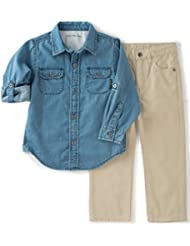 Calvin Klein Baby Boys' Shirt with Pockets and Twill Pant Set