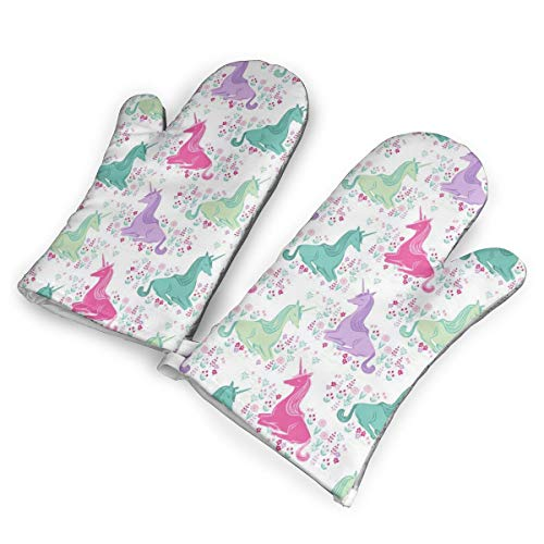 Sweet Unicorn Pink Pastel Girls Oven Mitts for Kitchen Heat Resistant, Oven Gloves for BBQ Cooking Baking, Grilling.