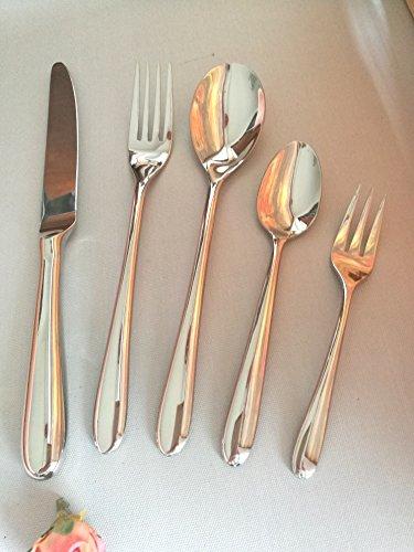 Wedding Restaurant Royal Silverware Set, Top Quality 18/10 Stainless Steel Elegant Flatware set ,5 Pieces set, Special Hollow handle Dinner ()
