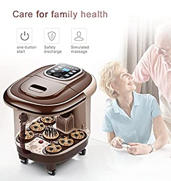 agoods care shiatsu massage feet bath automatic electric roller surfing heat foot massage basin water temperture