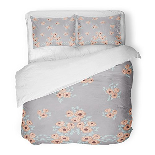 - SanChic Duvet Cover Set Border Feathers Small Flowers Antique Roses in Folk Bohemian Fabrics Floral Boho Chic Decorative Bedding Set Pillow Sham Twin Size
