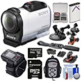 Sony Action Cam HDR-AZ1 Mini HD Video Camera Camcorder & Live View Remote with 64GB Card + Battery + 2 Helmet, Flat Surface & Suction Cup Mounts + Backpack Kit