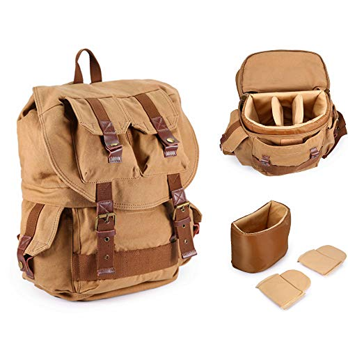 Saikvi Canvas Camera Backpack DSLR Camera Backpack with Rain Cover for Nikon,Canon,Son,Pentax Olympus and etc