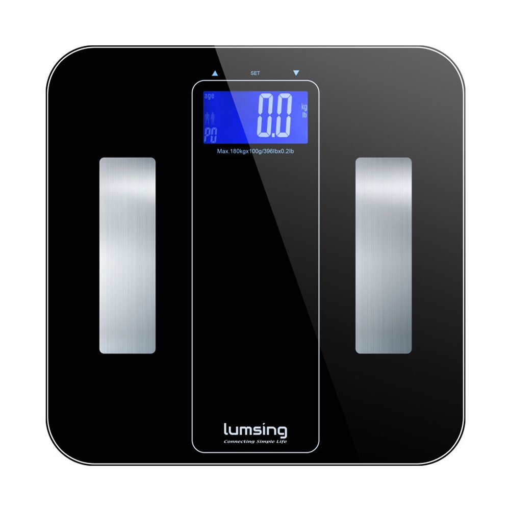 Lumsing Body Fat Scale Digital Bathroom Body Weight Scale Professional Smart Body Monitor Analyzer 400 lbs Capacity Measure BMI/Body Fat/Water/Muscle/Bone/Calorie, Black, CF722(Battery Include)
