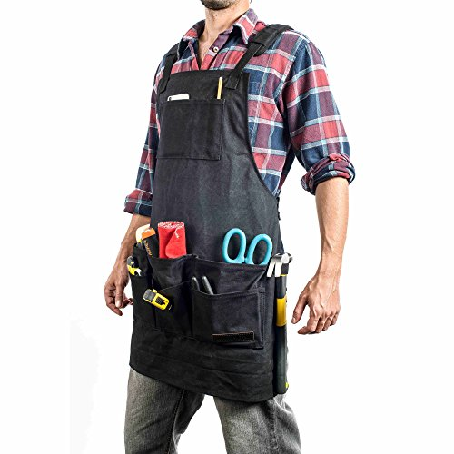 EVERPRIDE 11 Pocket Black Waxed Canvas Work & Tool Apron (Heavy-Duty) All-Purpose Utility Coverall for Men & Women | Reinforced Straps, Multiple Pockets | Adjustable Up To XXL | by EVERPRIDE